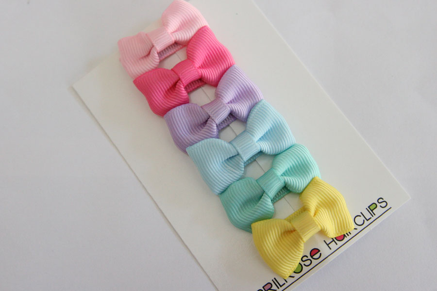 Pastel Bow Sets - Baby Snap Clips