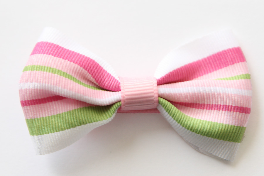 Big Beautiful Bow ARH Pink, Green & White Stripes