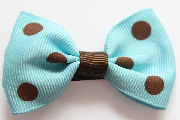 Big Beautiful Bow Blue with Brown Dots