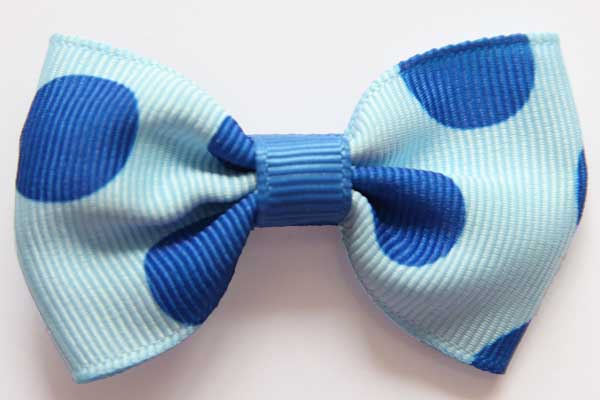 Big Beautiful Bow Blue with Large Electric Blue Dots