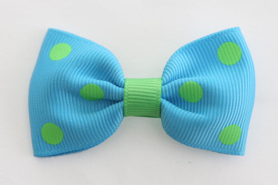 Big Beautiful Bow Blue with Green Dots