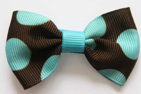 Big Beautiful Bow Dark Brown with Turquoise Dots