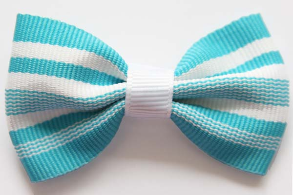 Big Beautiful Bow Blue and White Stripes