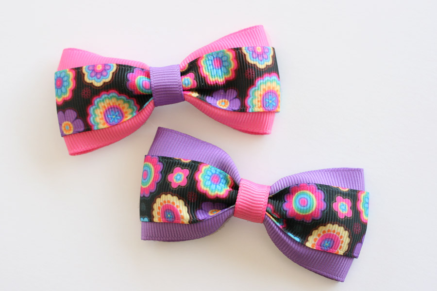 Pink & Purple Flower Print Deluxe Bow