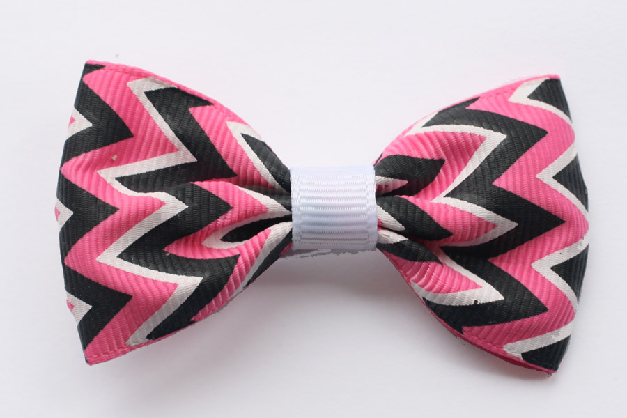 Big Beautiful Bow Hot Pink, Black & White Zig Zag