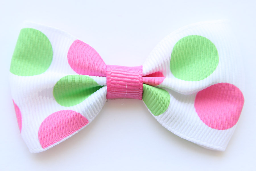 Big Beautiful Bow White with Hot Pink and Green Dots