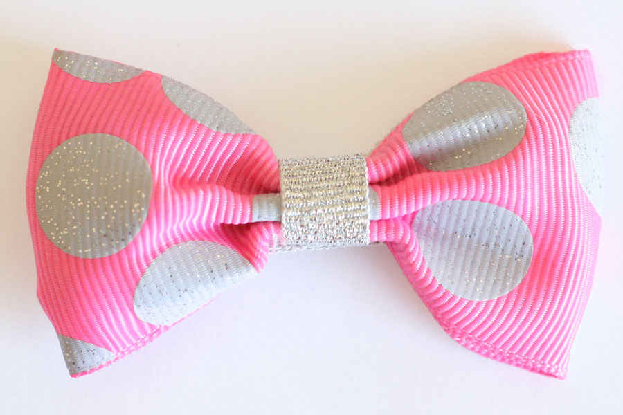 Big Beautiful Bow Hot Pink with Silver Glitter Dots
