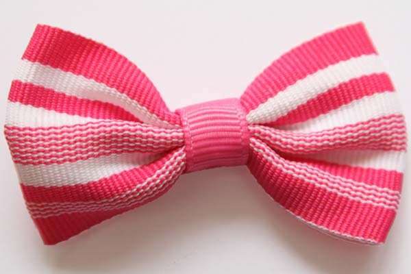 Big Beautiful Bow Hot Pink with White Stripes