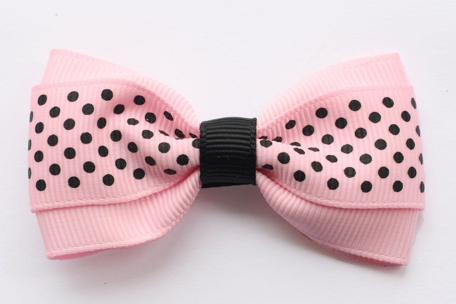Baby Pink and Black Dots Deluxe Bow