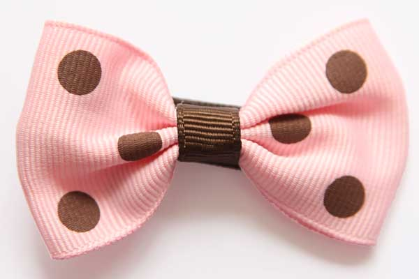 Big Beautiful Bows Pink with Large Brown Dots