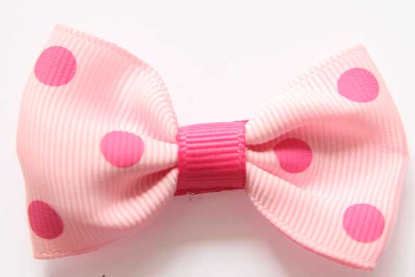 Big Beautiful Bow Pink with Hot Pink Dots