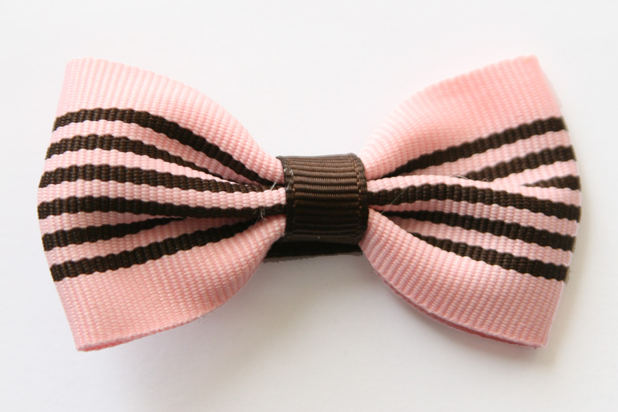 Big Beautiful Bow Pink & Brown Stripes