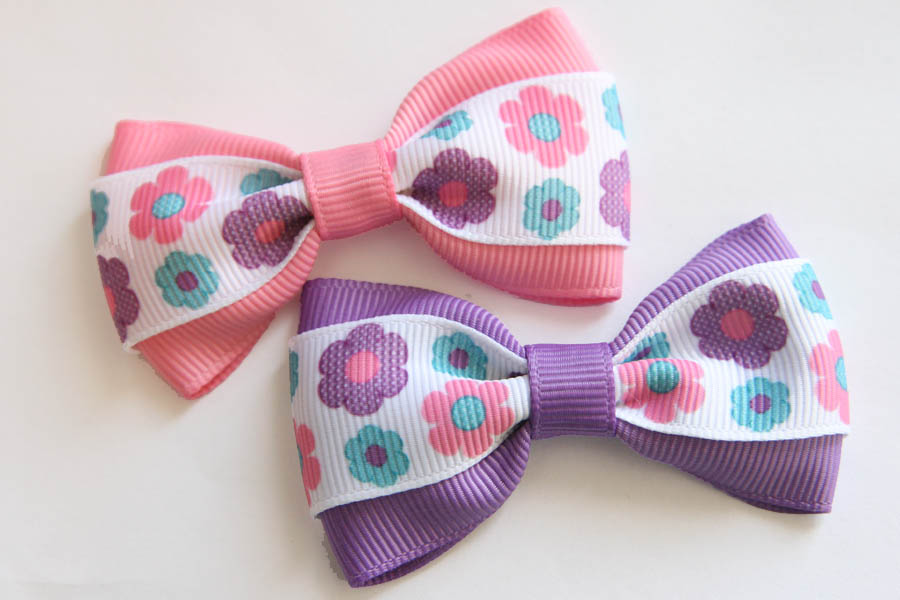 Pink, Purple and Aqua Deluxe Bow
