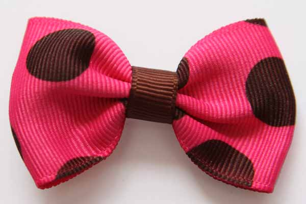 Big Beautiful Bow Shocking Pink with Large Brown Dots