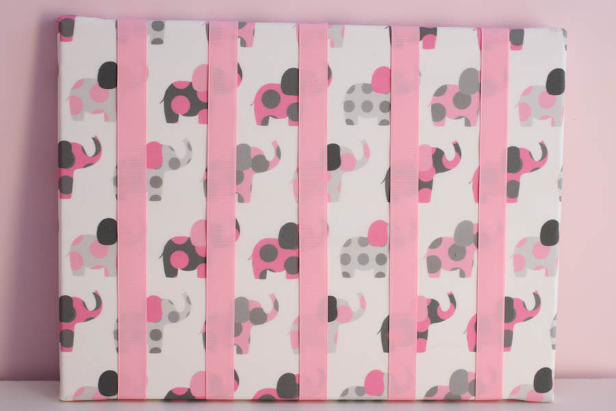 Pink & Grey Elephants Hairclip Board