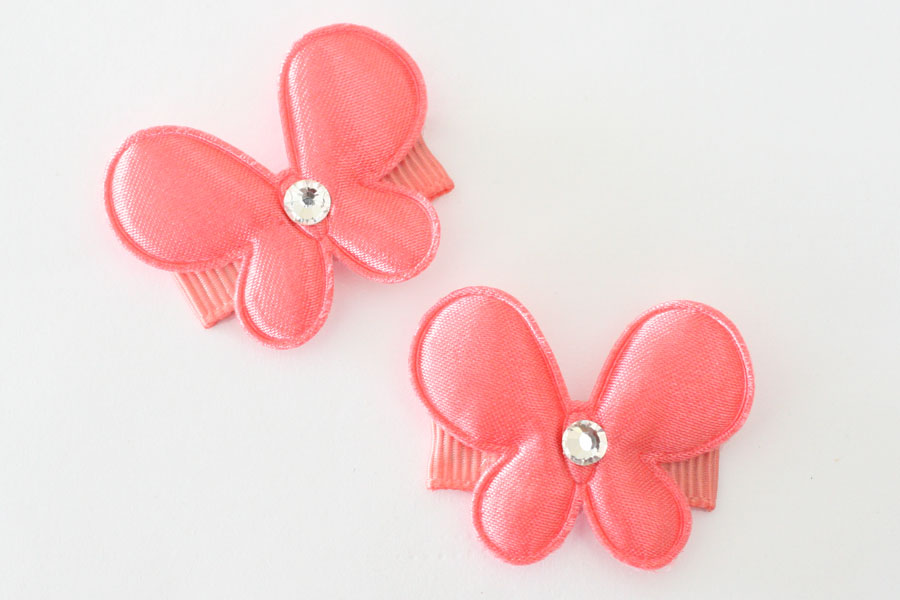 Baby Snap Clip Satin Coral Butterfly
