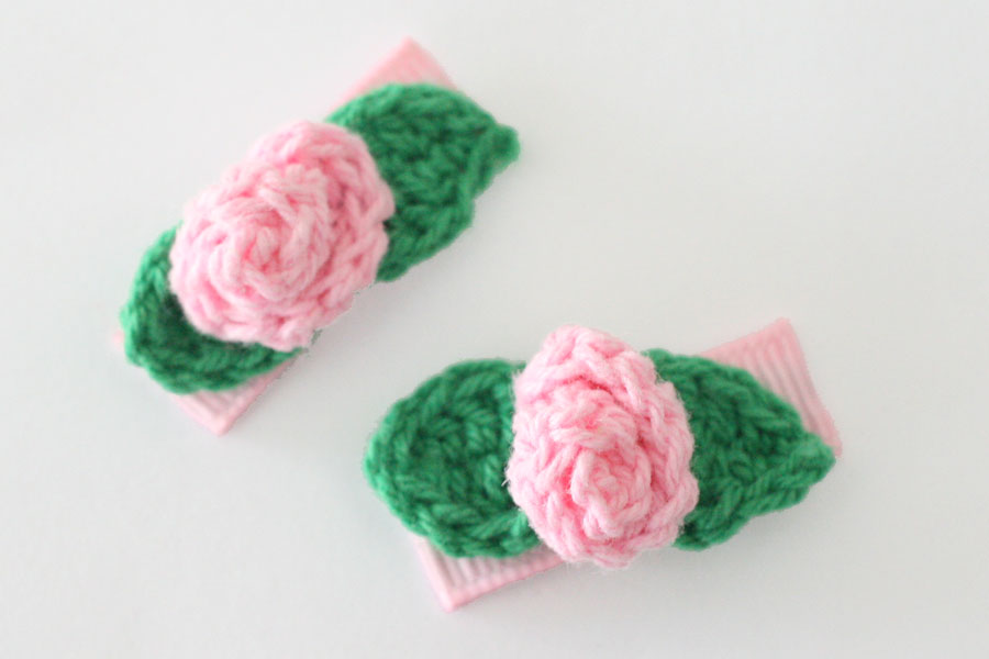 Baby Snap Clips Crochet Rose