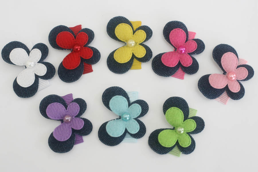 Baby Snap Clips Denim Butterflies