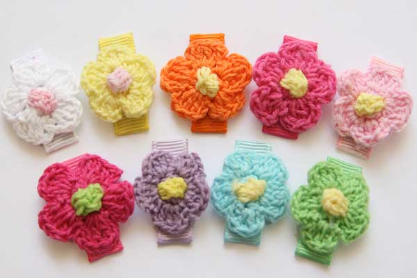 Baby Snap Clips Mini Crochet Flowers