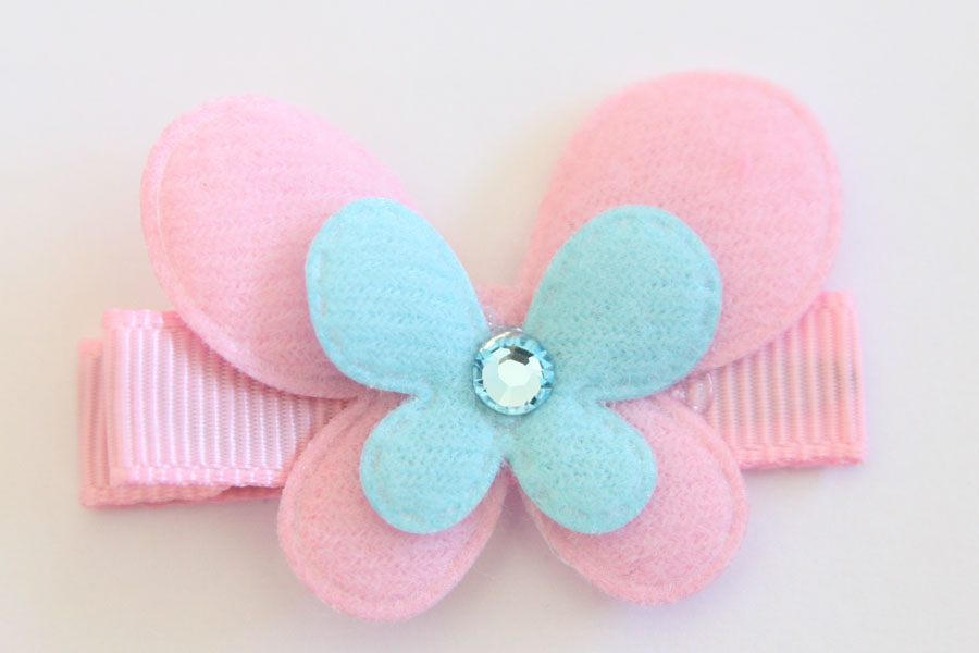 Double Pink & Blue Felt Butterfly