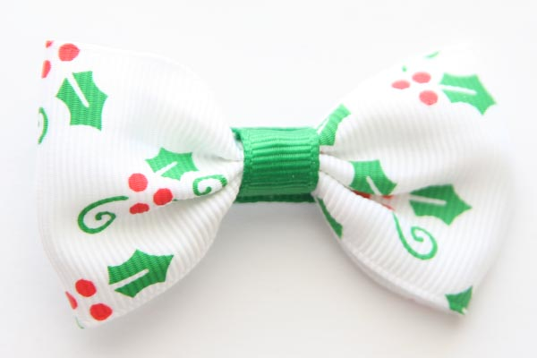 Christmas Big Beautiful Bow Holly Design