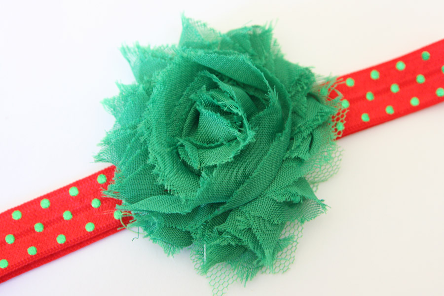 Christmas Headband - Red with Shiny Green Dots