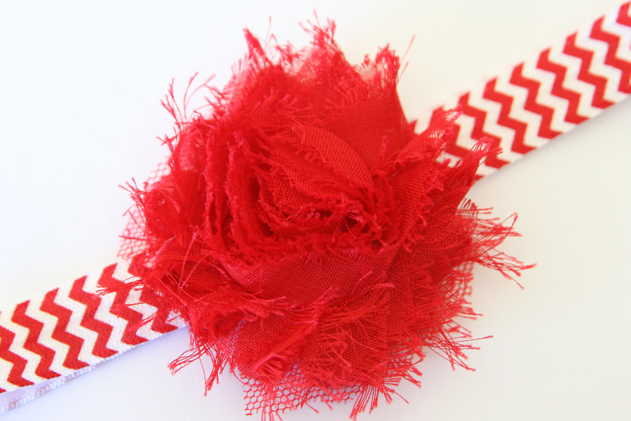 Christmas Headband - Red & White Chevron Print