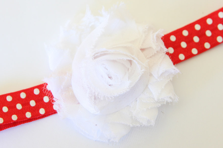 Christmas Headband - Red with White Dots