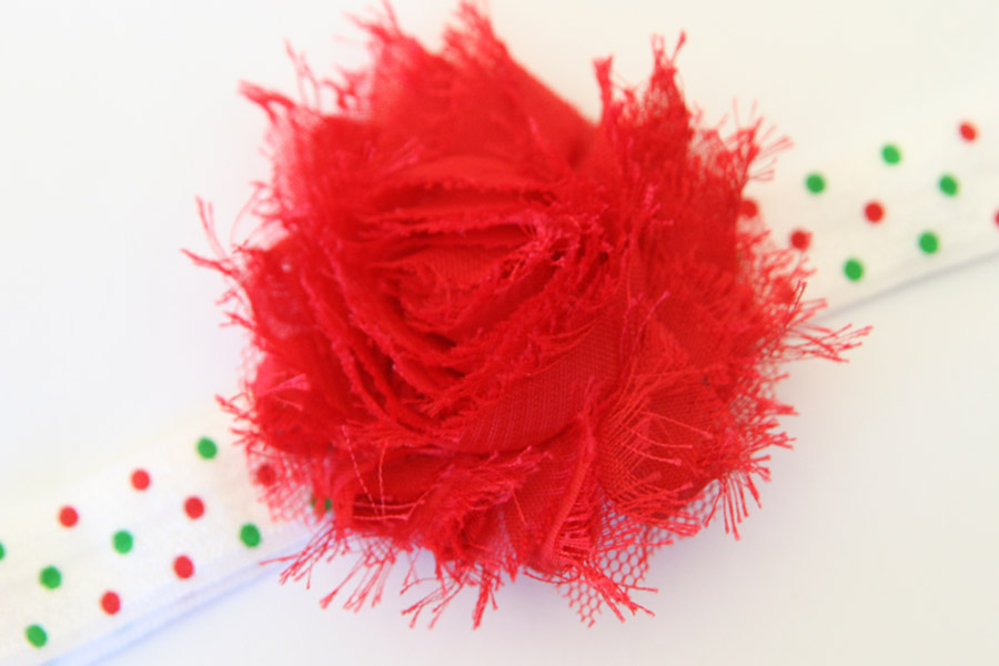 Christmas Headband - White with Red and Green Dots