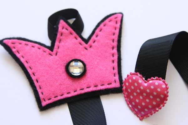 Crown Hairclip Holder - Black & Hot Pink