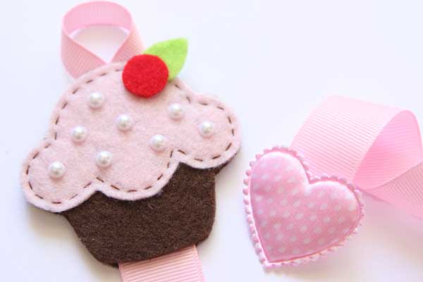 Cupcake Hairclip Holder - Light Pink & Brown