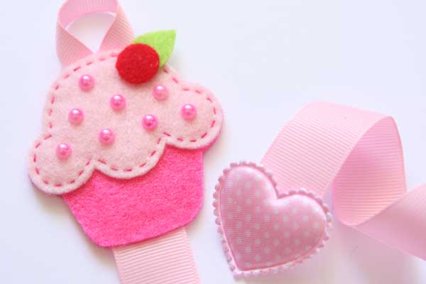 Cupcake Hairclip Holder - Pink & Hot Pink
