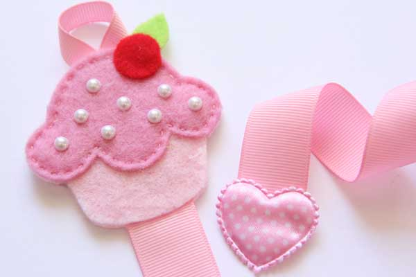 Cupcake Hairclip Holder - Pink & Light Pink