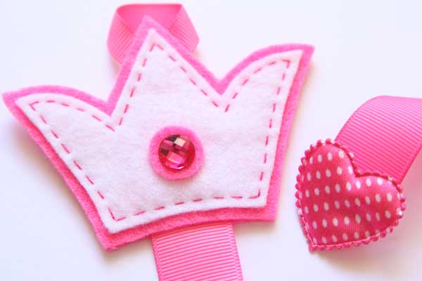 Crown Hairclip Holder - Hot Pink & White