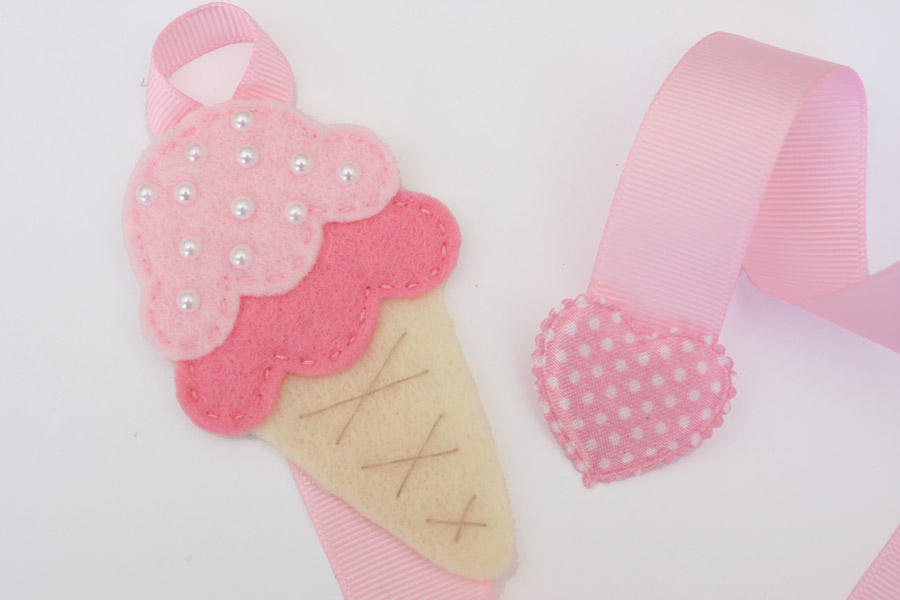 Icecream Cone Hairclip Holder - Pink & Light Pink - Click Image to Close