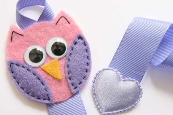 Owl Hairclip Holder - Pink and Light Purple