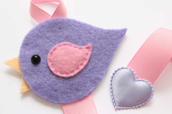 Lovebird Hairclip Holder - Light Purple and Pink