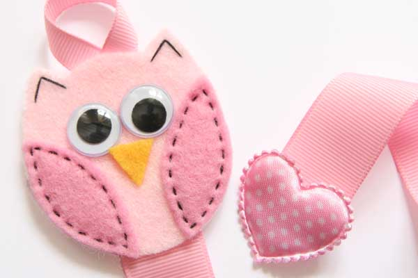 Owl Hairclip Holder - Light Pink & Pink