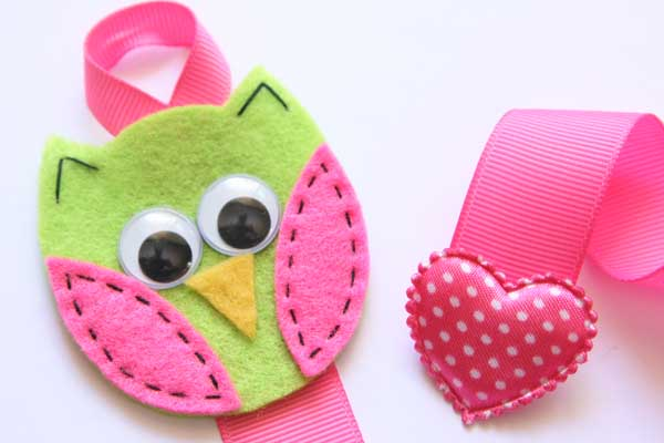Owl Hairclip Holder - Lime & Hot Pink
