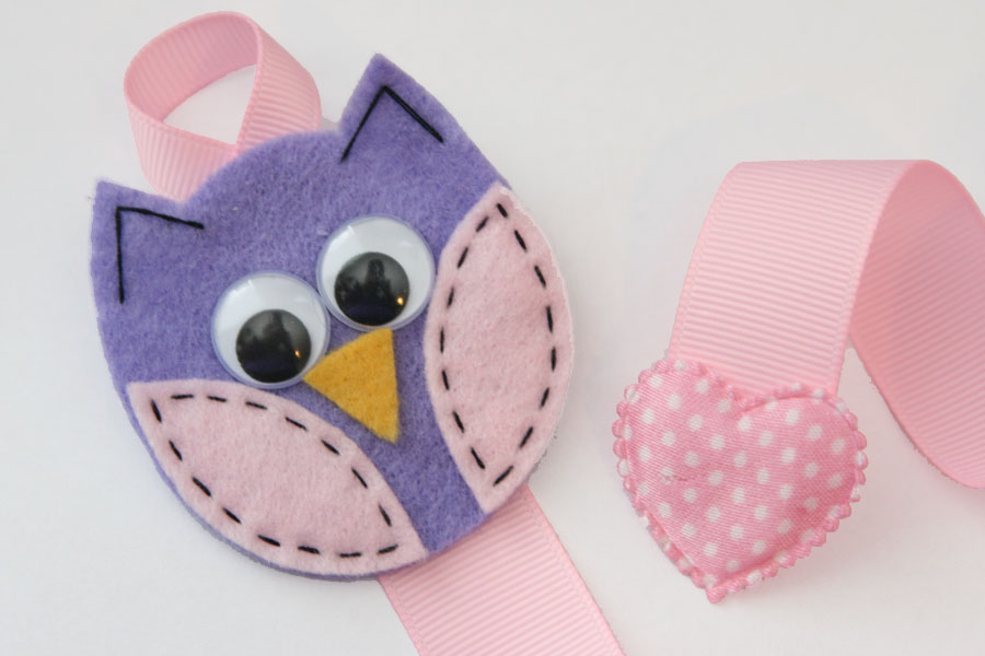 Owl Hairclip Holder - Light Purple and Baby Pink