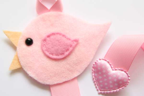 Lovebird Hairclip Holder - Light Pink and Pink
