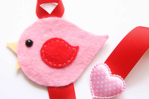 Lovebird Hairclip Holder - Pink and Red