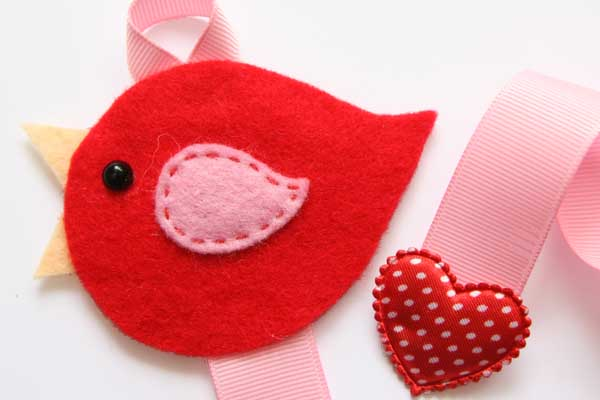Lovebird Hairclip Holder - Red and Pink