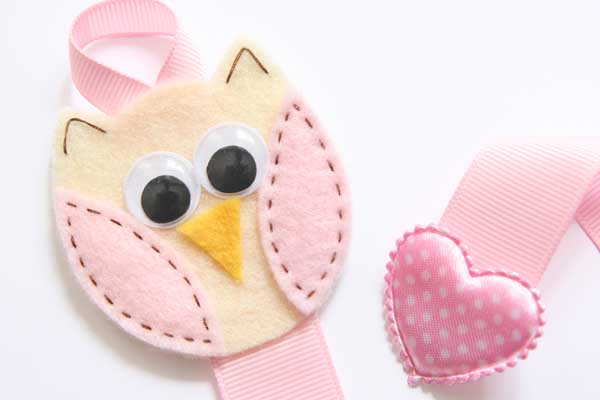 Owl Hairclip Holder - Vanilla & Baby Pink