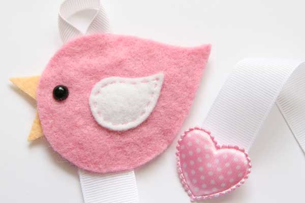 Lovebird Hairclip Holder - Pink and White