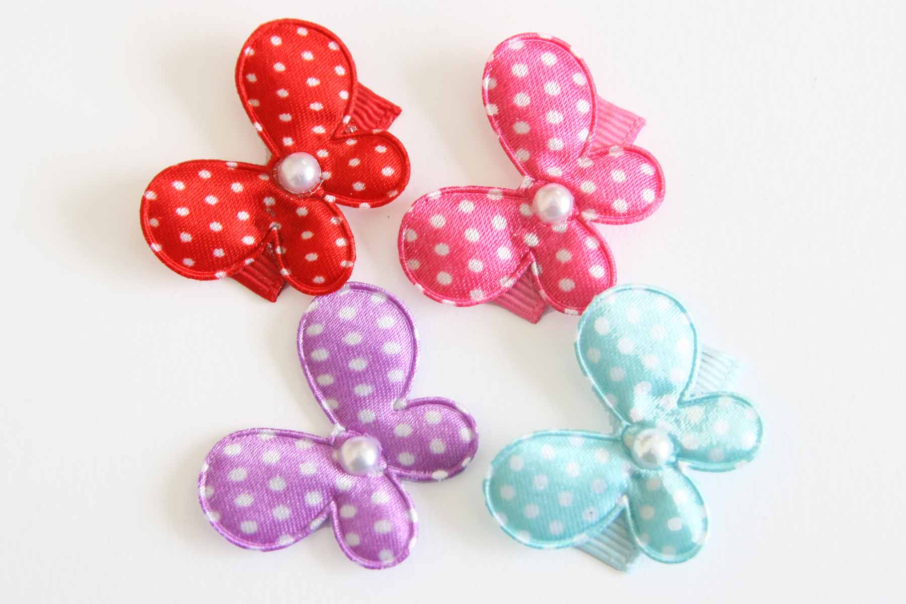 Baby Snap Clip Satin Dot Butterflies