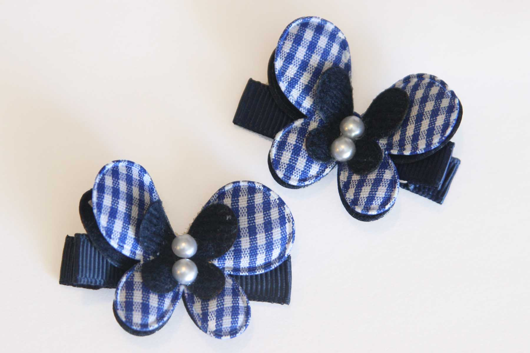 Navy Plaid Butterflies