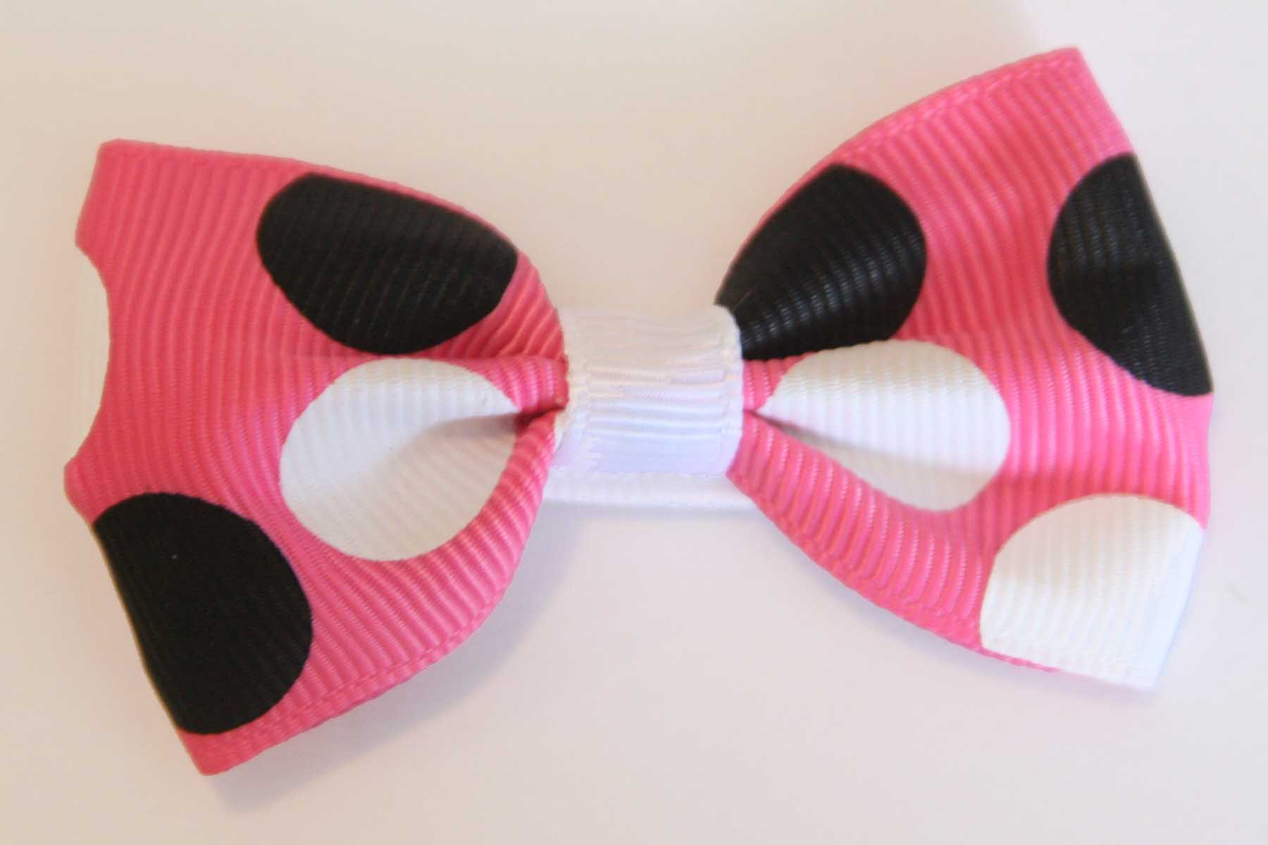 Big Beautiful Bows Hot Pink with White & Black Dots
