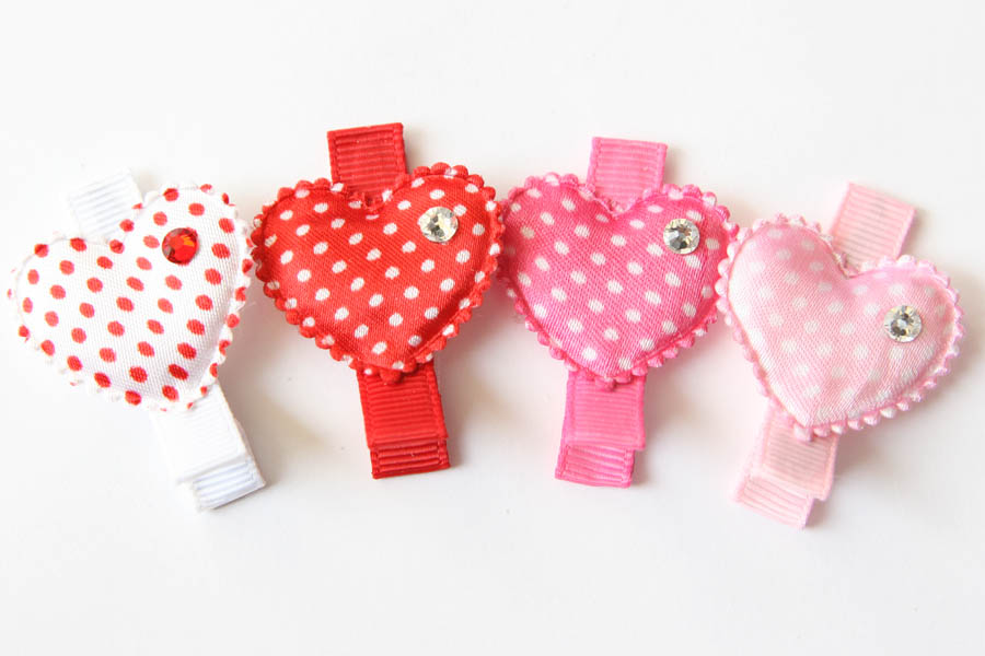 Valentines Day Polka Dot Heart Appliques