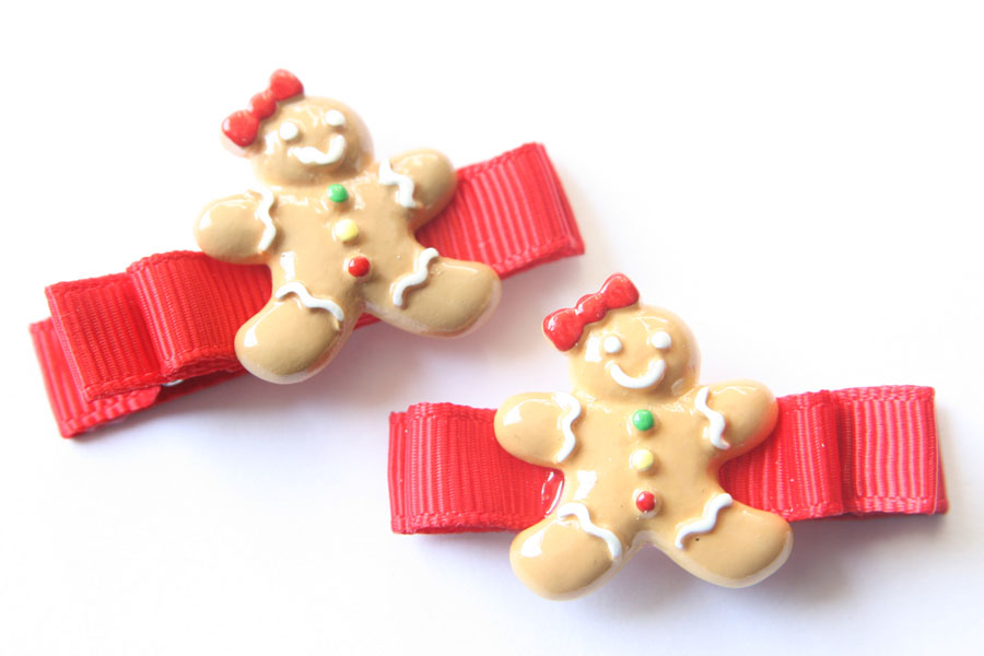 Christmas Gingerbread Man Resin & Bow
